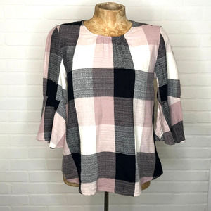 RO & DE Plaid Top Sz XS 3/4 Bell Sleeve Tie Back